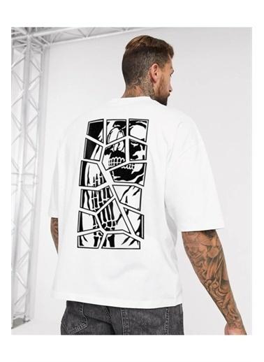 Oksit Chapter Skullcracked Unisex Oversize Tshirt Beyaz